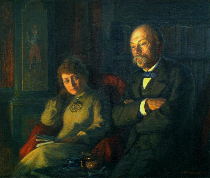 Hulda og Arne Garborg, oljemaleri av Otto Valstad