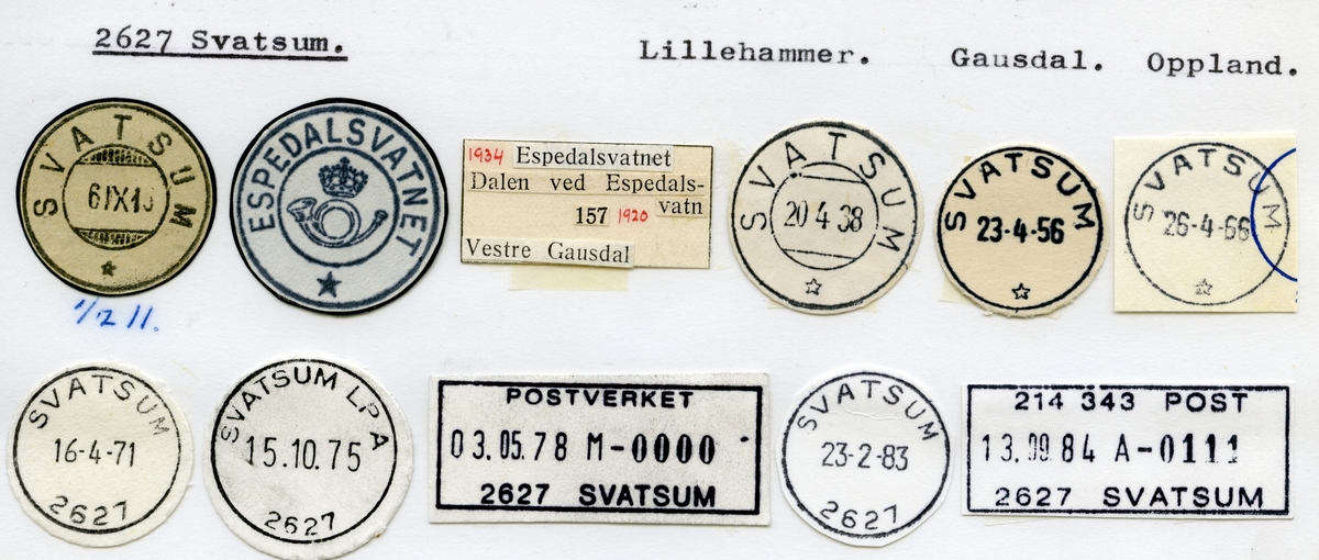 Stempelkatalog  2627 Svatsum, Gausdal kommune, Oppland