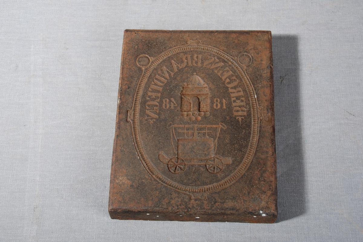 Brannvogn, Bergens byvåpen og tekst i oval innramming