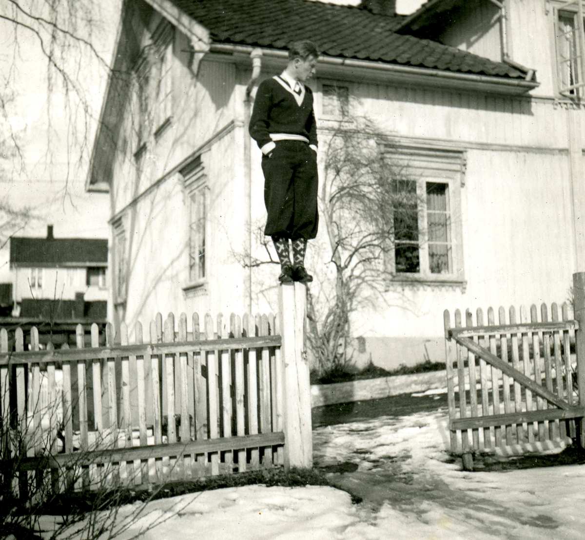 Athlete Birger Ruud outside his home in Kongsberg