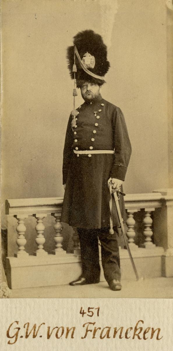 Porträtt av Georg Wolfgang von Francken, kapten vid Andra livgardet I 2.  Se även AMA.0007269 och AMA.0007301.