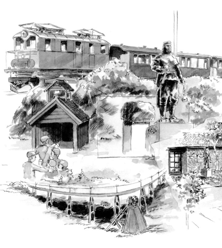 Tegning av ulike severdigheter og opplevelser ved Orkla Industrimuseum på Løkken Verk