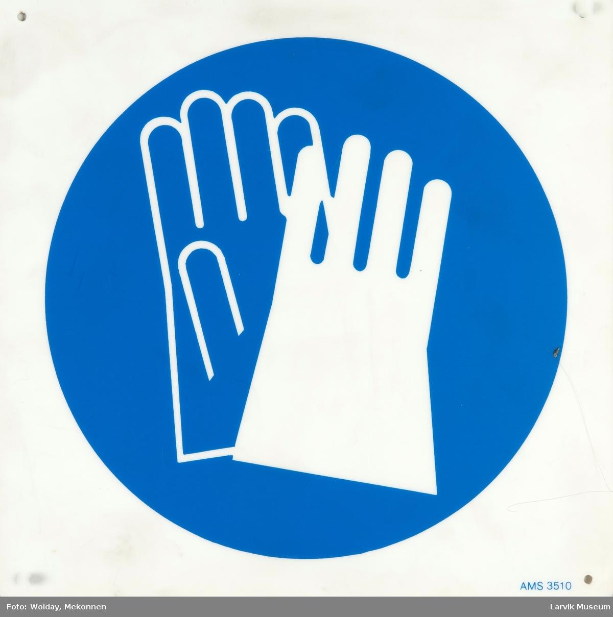 Symbol: Påbudt med vernehansker/Bruk vernehansker!