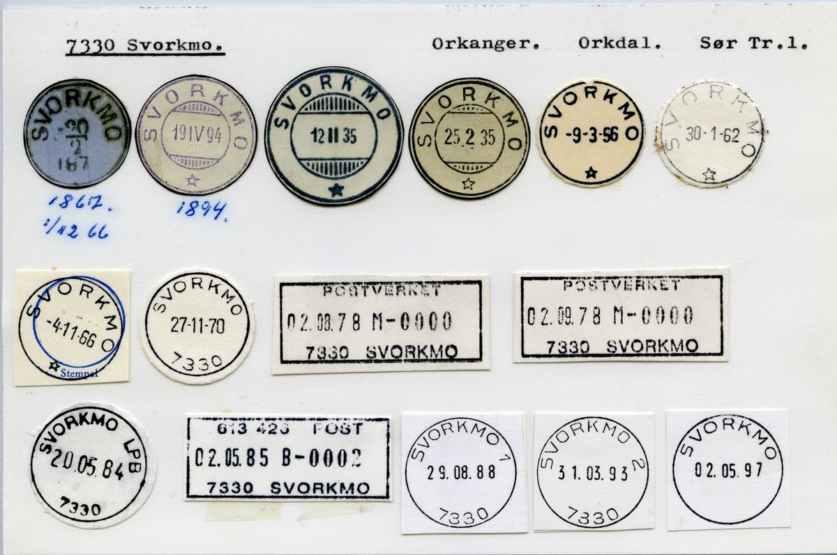 Stempelkatalog  7330 Svorkmo, Orkdal, Sør-Trøndelag