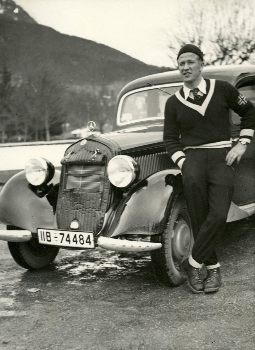Norwegian athlete Birger Ruud with his Mercedes Benz in Germany