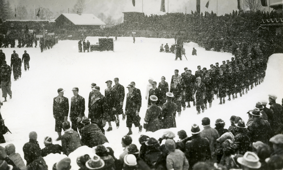 Marching in during opening of Winter Olympic Games at Garmisch