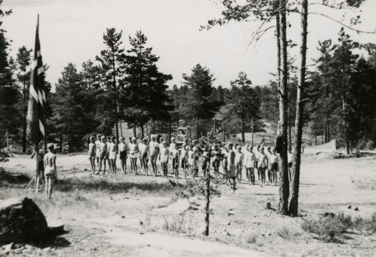 Flag parade during summer camp at Kongsberg