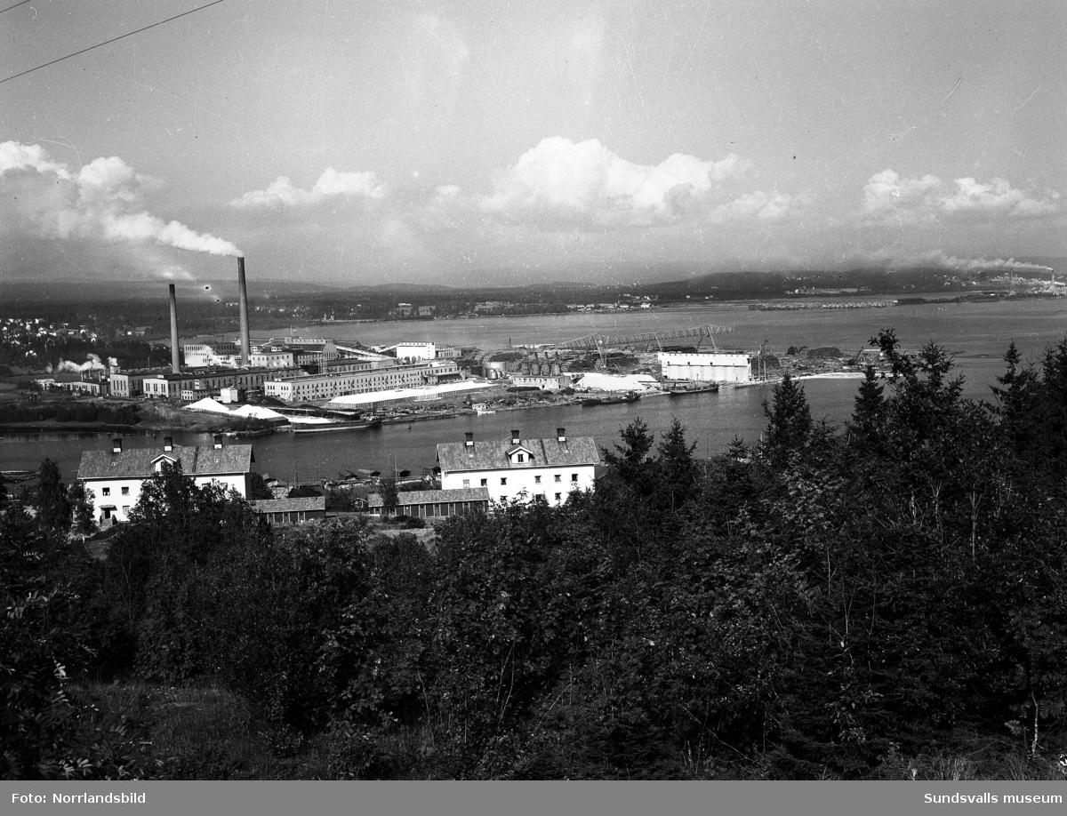 Östrandsfabriken fotograferad från Skönviksberget. I förgrunden arbetarbostäderna i Skönvik. Till höger skymtar fabrikerna i Vivstavarv och Fagervik.