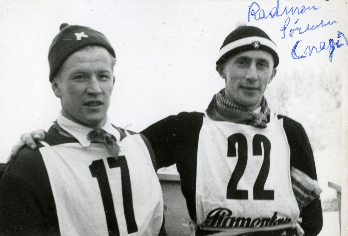 Norwegian athletes Birger Ruud and Radmon Sørensen at Garmisch