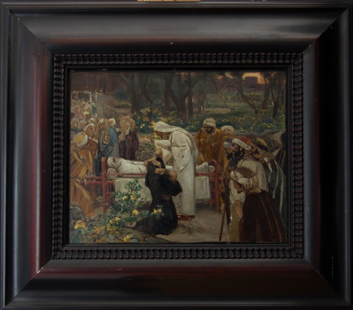 Jesus står bredvid en änka och hennes döde son som ligger på en säng.