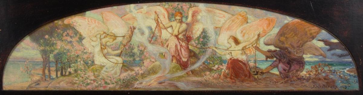 Eros i helfigur. Stödjer sig mot en sten med ena foten och stöttar huvudet med ena handen. Omgiven av två kvinnofigurer med vingar. Mellan kvinnorna löper livets tråd som en tredje mörkklädd figur klipper av med en fårsax. Framför Eros brinner en eld. Figurerna omges av växtlighet och i bakgrunden vatten.