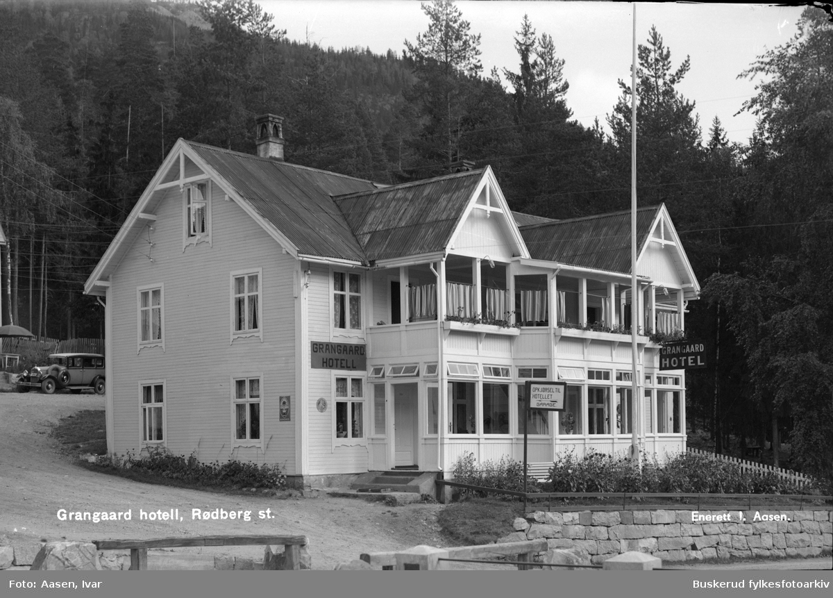 Rødberg sentrum Grangaard hotel 1924 Postkort origianal