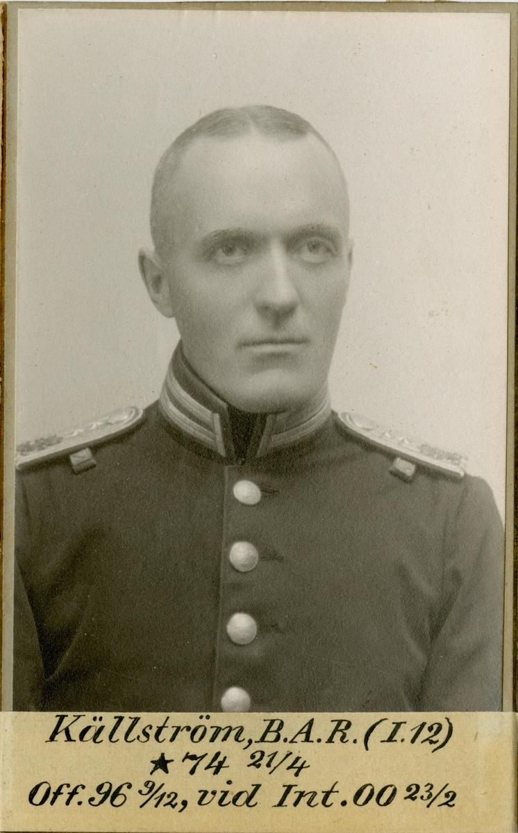 Porträtt av Bror Axel Robert Källström, officer vid Jönköpings regemente I 12 och Intendenturkåren.