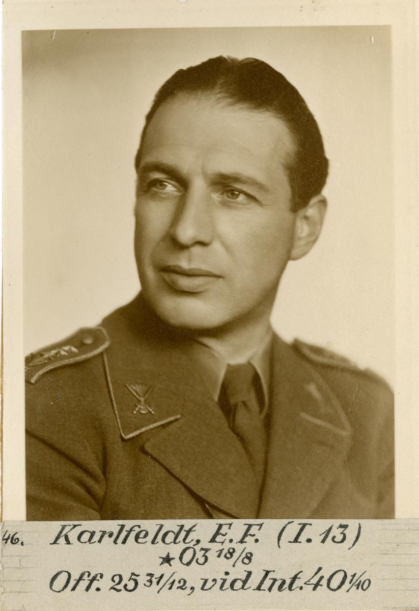 Porträtt av Erik Folke Karlfeldt, officer vid Dalregementet I 13 och Intendenturkåren.