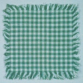 Material: bomull och spendolin, rutig. 1,5 cm  frans runt om.
