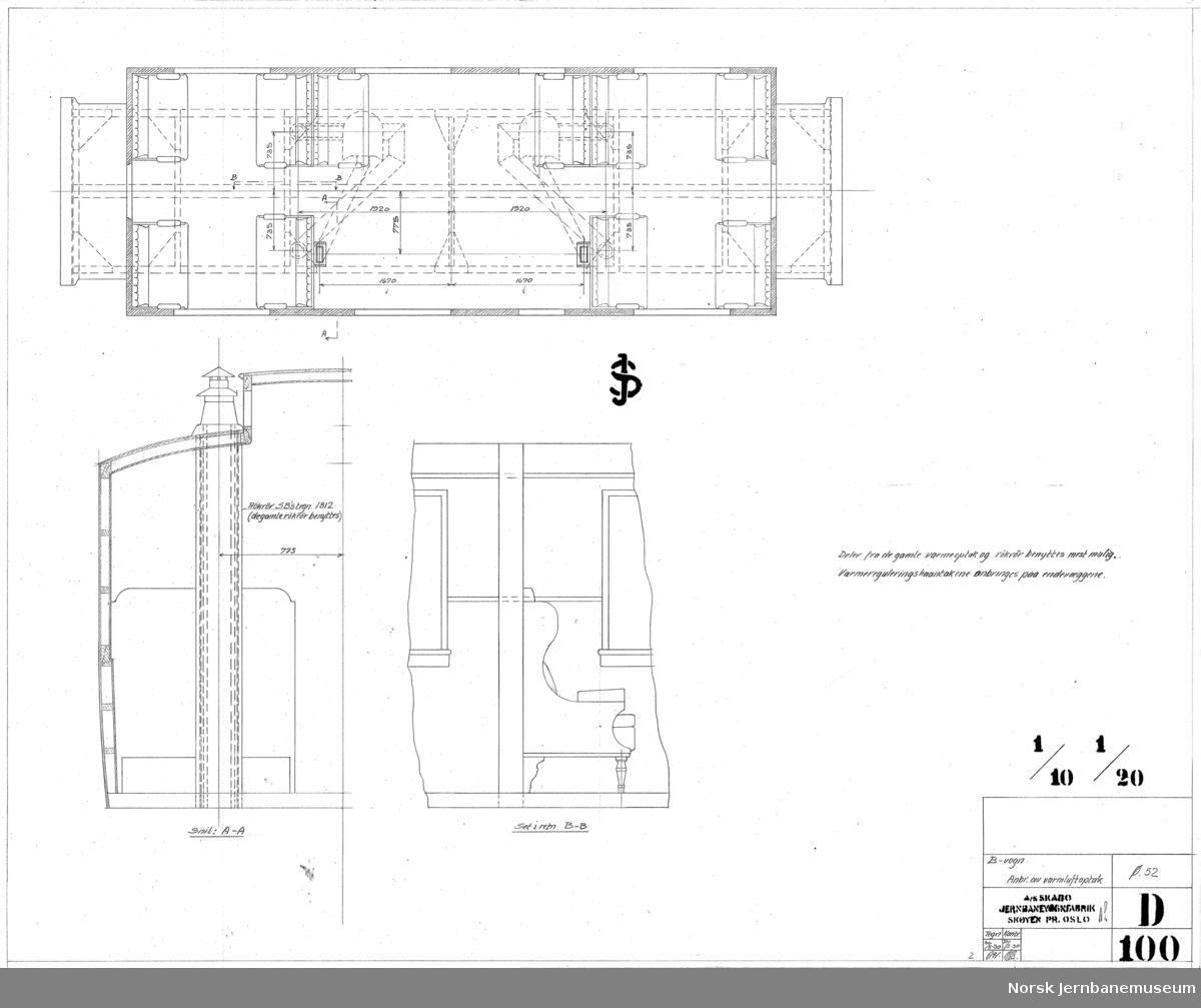Ombygging av Rjukanbanens personvogn litra B nr. 1  D099 Ledningsplan D100 Anbringelse av varmluftoptak