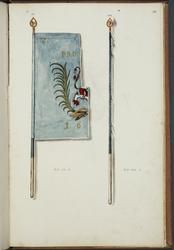 Avbildningar i gouache föreställande fälttecken tagna som tr