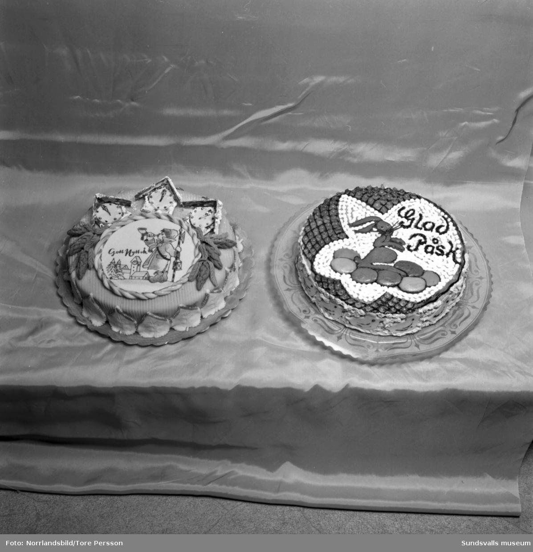Tårtor för speciella högtider (student, påsk, nyår) bakade på Pallas konditori.