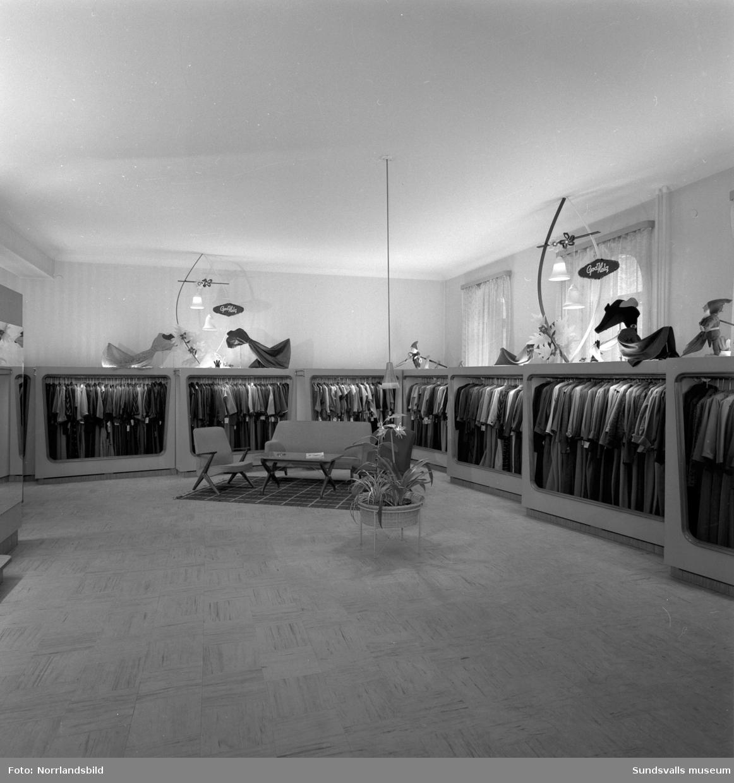 Interiörbilder från Frans Petterssons modehus på Storgatan 19.