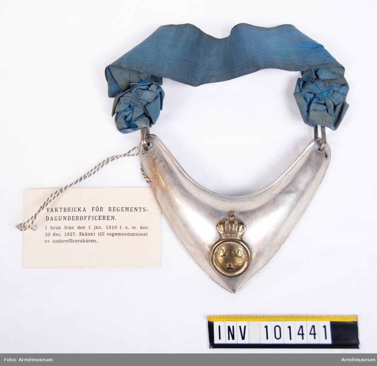 Dagbricka m/1799 för regementsdagunderofficer.