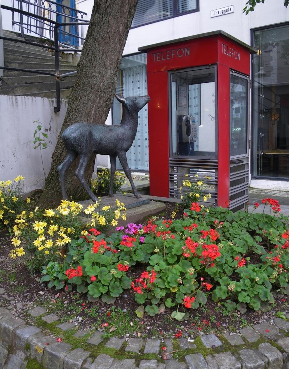 Denne telefonkiosken står i Kongensgate 6 i Ålesund, og er en av de 100 vernede telefonkioskene i Norge. De røde telefonkioskene ble laget av hovedverkstedet til Telenor (Telegrafverket, Televerket). Målene er så å si uforandret.  Vi har dessverre ikke hatt kapasitet til å gjøre grundige mål av hver enkelt kiosk som er vernet.  Blant annet er vekten og høyden på døra endret fra tegningene til hovedverkstedet fra 1933. Målene fra 1933 var: Høyde 2500 mm + sokkel på ca 70 mm Grunnflate 1000x1000 mm. Vekt 850 kg. Mange av oss har minner knyttet til den lille røde bygningen. Historien om telefonkiosken er på mange måter historien om oss.  Derfor ble 100 av de røde telefonkioskene rundt om i landet vernet i 1997. Dette er en av dem.