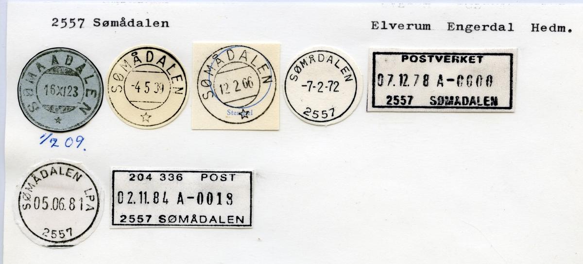 Stempelkatalog  2557 Sømådalen, Engerdal kommune, Hedmark