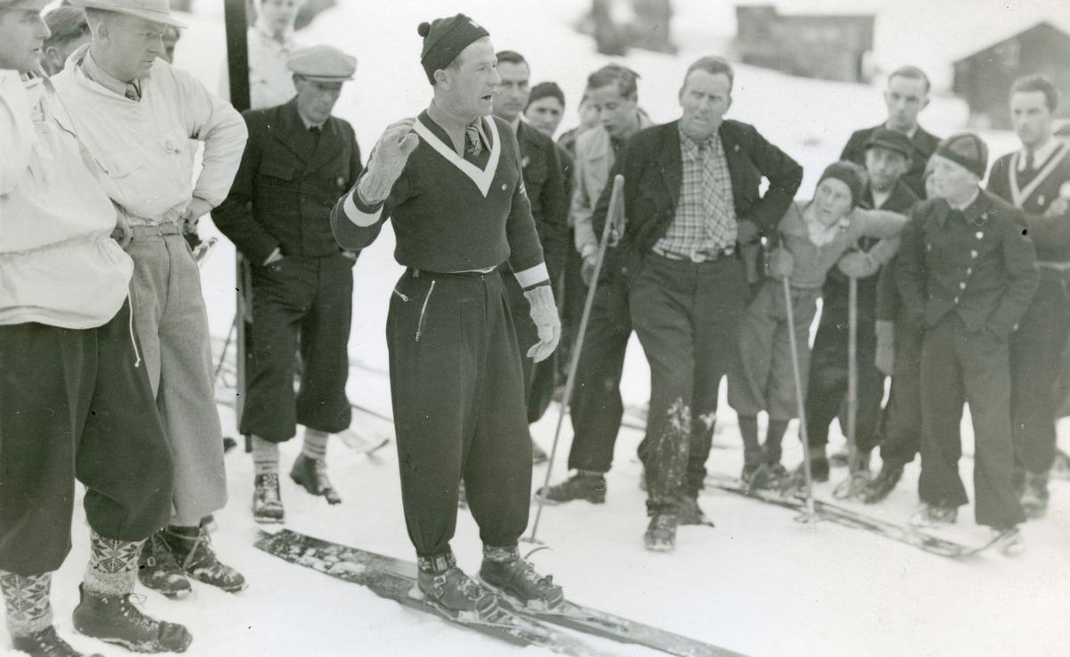 Athlete Birger Ruud during downhill training
