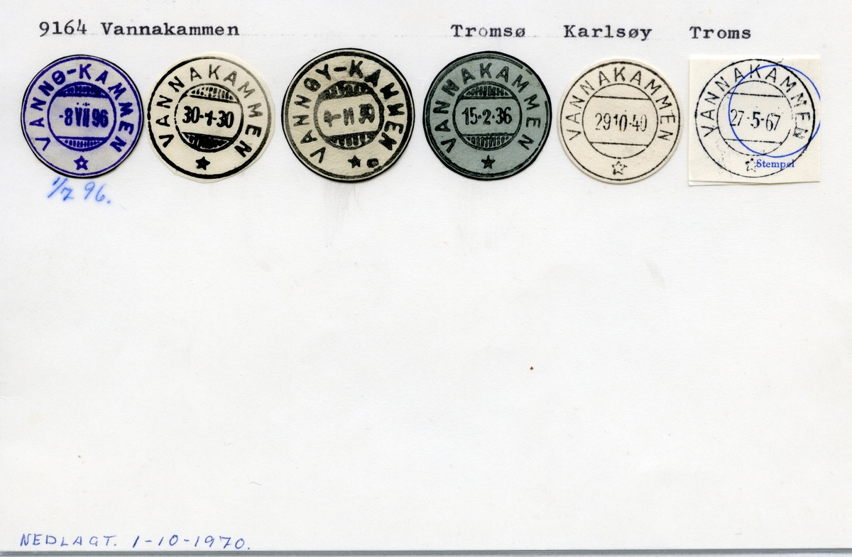 Stempelkatalog 9164 Vannakammen (Vannø-Kammen, Vannøykammen), Tromsø, Karlsøy, Troms