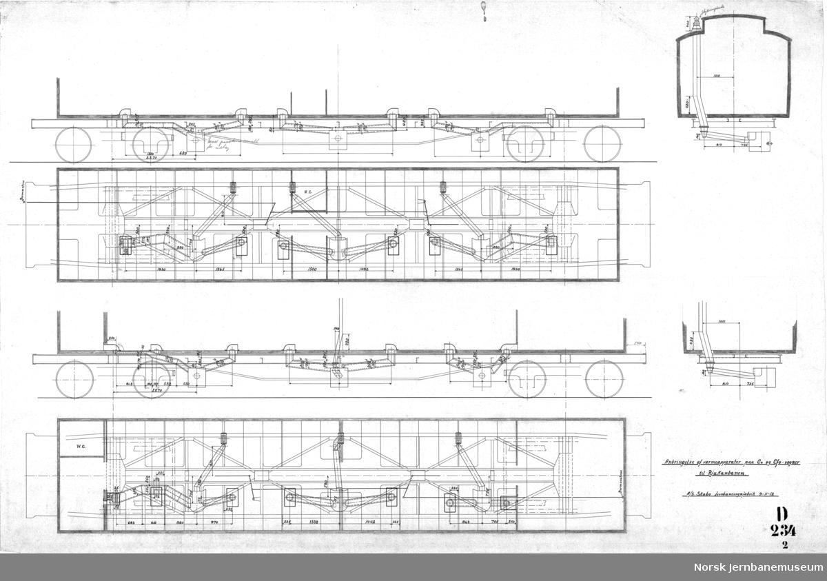 3 klasses passagervogn litra Co og Kombineret 3 klasses passager- og konduktør-bagage-vogn litra CFo for Rjukanbanen  D234 Hovedtegning D234-1 Bremseanordning D234-2 Anbr. av varmeapparater