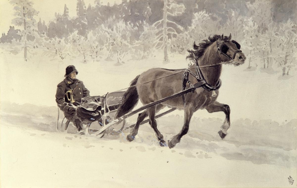 postmuseet, kunst, akvarell, Andreas Bloch, postførsel, postfører med hest og slede, posthorn, postveske, motivet finnes også på CD-rom PRO1, bilde nr 61