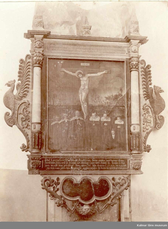Handelsmannen Mikael Arendtz epitafium i Kalmar domkyrka. Detta epitafium är flyttat från den 1678 sprängda Bykyrkan.