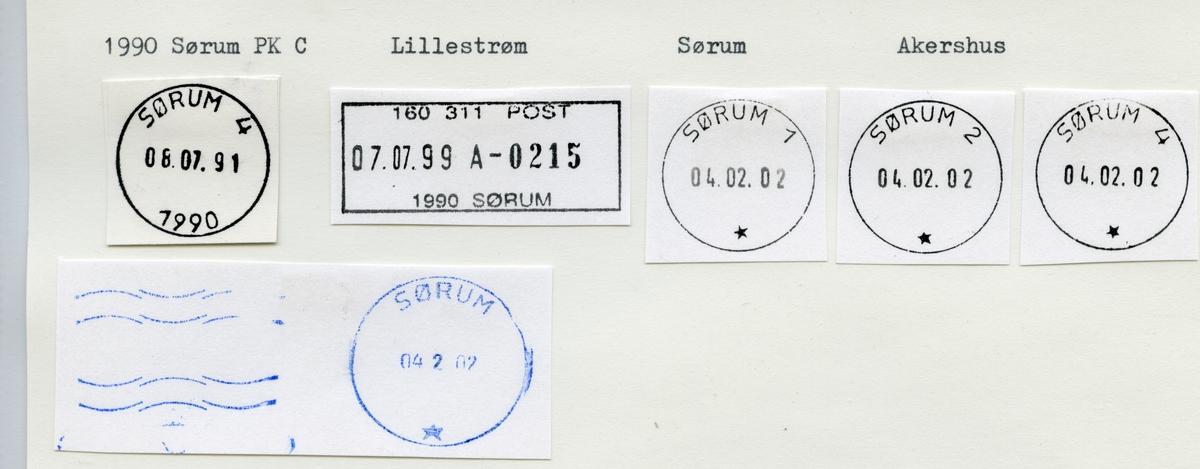 Stempelkatalog  1990 Sørum, Sørum kommune, Akershus (Rømua)