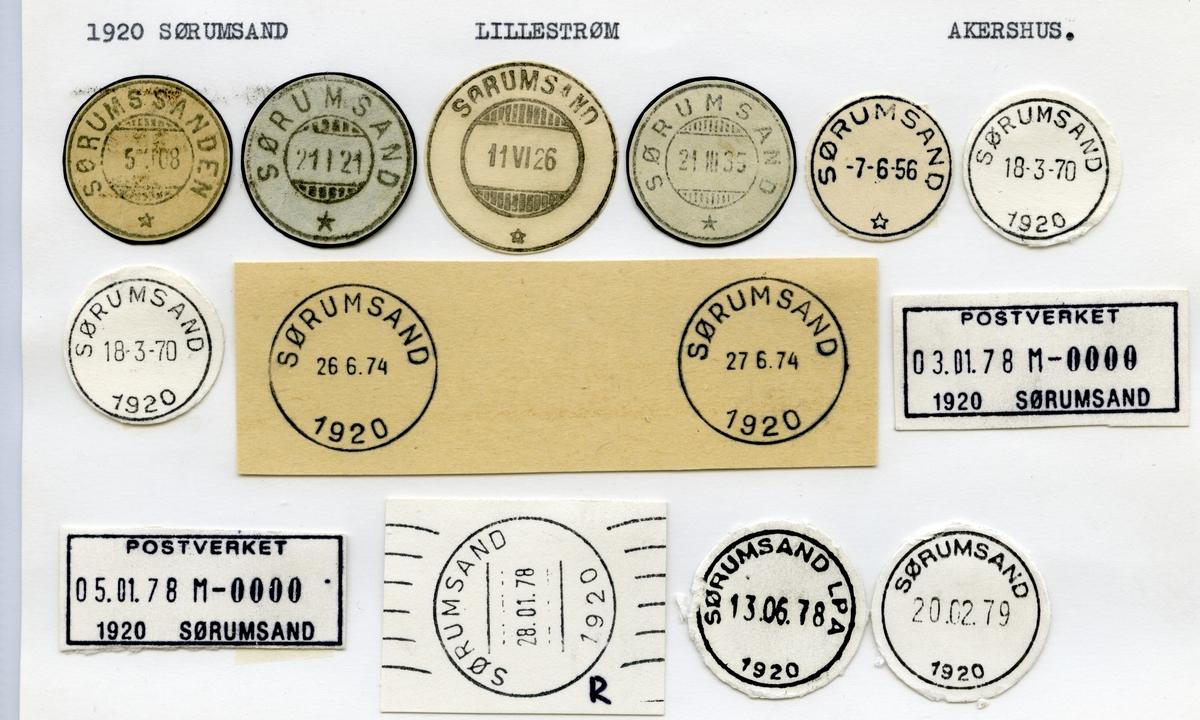 Stempelkatalog  1920 Sørumsand, Lillestrøm kommune, Akershus