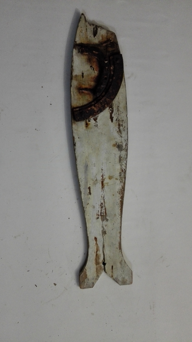 "Form: Fiskeliknande 1 ""skimla"".  En skimla, fiskelignende, hvitmalt fiskeskræmmer, benyttet under brislingfiske med not til at skræmme silden fra not-öinedn (not-enderne) ind i noten. (Konf. ""Folkemunn"" B XII, pag. 172).  I et hul i skimlens hale fæstes et snöre, paa den motsatte side er paaslaaet 1/2 hestesko og 2 stykker av en ovnsring forat faa den til at synke i sjöen. de to baater, der manövrerer ""öreduvlet"" er forsynt med hver sin ""skimle"", som de, naar sildestimen nærmer sig notöret lar synke og hæve i sjöen forat skremme silden ind igjen i noten. Avbrudt i nedre spids.  Gave fra gaardbruker Ole Iversen Næsset, Amble."