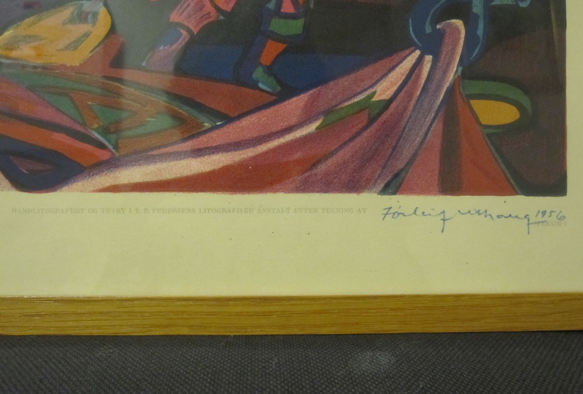 Hvalfangst [Håndkolorert litografi]