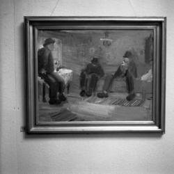 Närbild av en tavla med några vissa fulla män, två av dem so