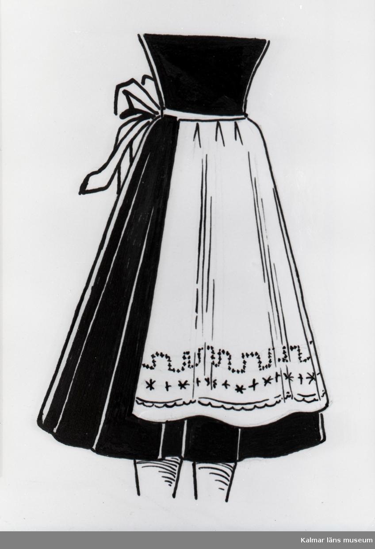 Förkläde från Birgittas Handarbetsaffär, som låg på Södra Långgatan.