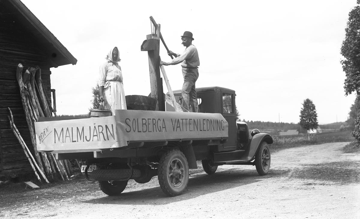 """Barnens Dag i Torsåker. Den 18 juli 1937. """"Solberga vattenledning från Malmjärn""""."""