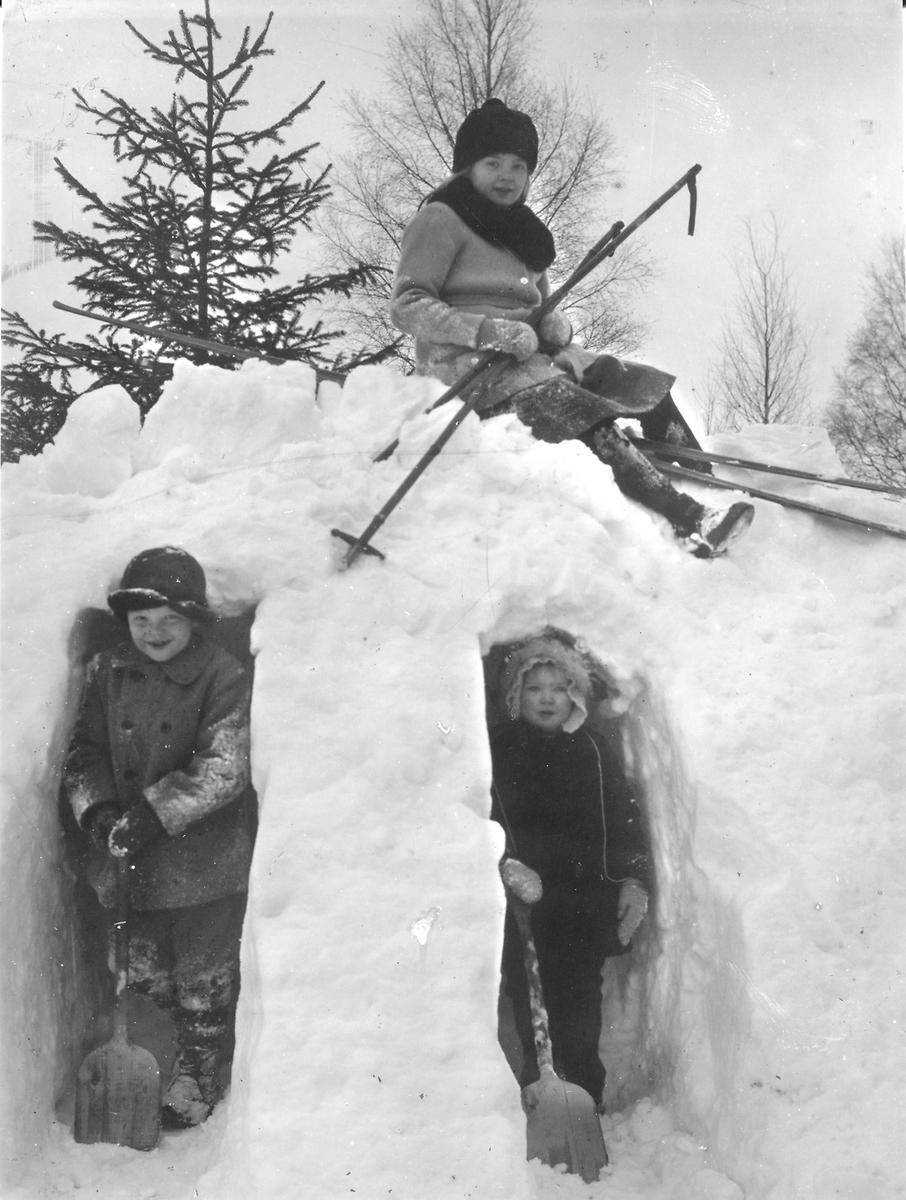 Valborg, Holger och Astrid, barn till Stina och Lars Jonsson, Östansjö.