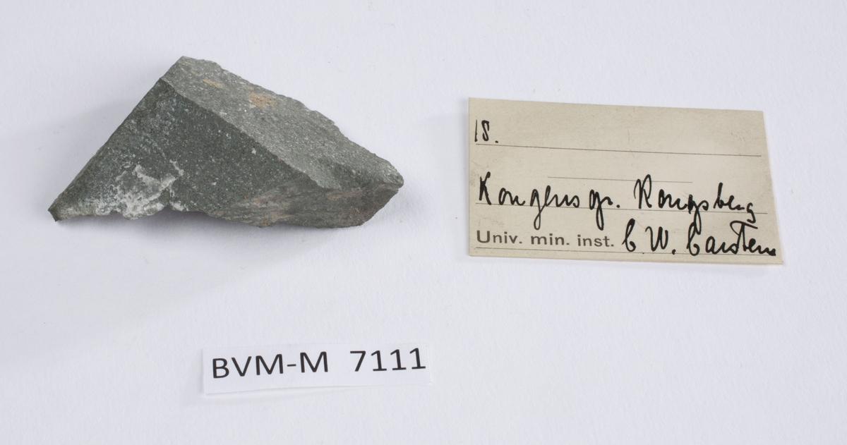 Etikett i eske: 18.  Kongens gr. Kongsberg C.W. Carstens