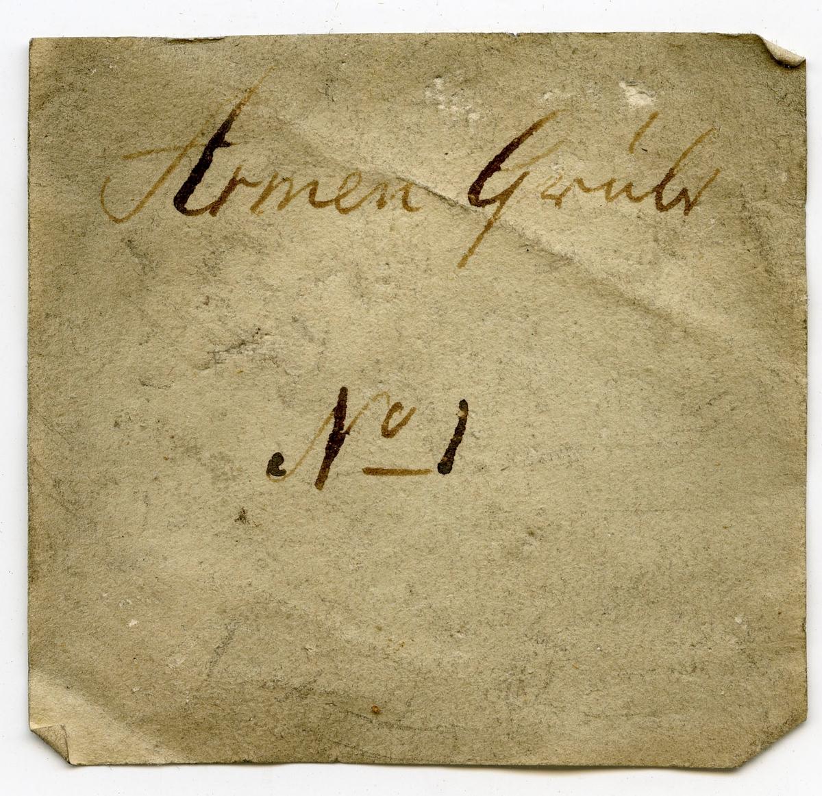 Etikett på prøve: Armen gr. 1.  Etikett i eske: Armen Grube No. 1