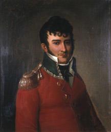 Portrett av Falsen. Mørkt hår, rød sorenskriveruniform m/grønn krave og epåletter, hvit skjorte og mørkt halstørkle. (Foto/Photo)