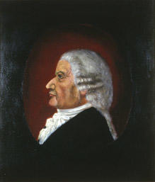 Portrett av gårdbruker Anders Lysgaard.  Mann i profil, grå parykk, svart kledning og hvitt kalvekryss. Ovalt parti som bakgrunn, mørk rødt. Omkringliggende bakgrunn er svart