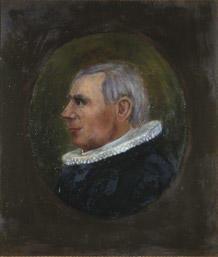 Portrett av eidsvollmann Jens Stub  Mann med grått hår og prestedrakt, profil  Innskrevet i oval, lysere enn resten av bakgrunnen. (Foto/Photo)