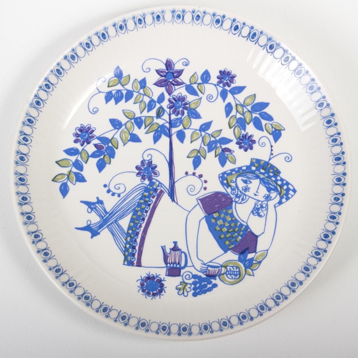 Stiliserte, dekorative figurer, planter og trær i fantasirike motiv