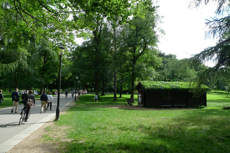 DNT-hytta Hovinkoia fra Holleia på Ringerike gjenreist i Slottsparken, Oslo, sommeren 2016.