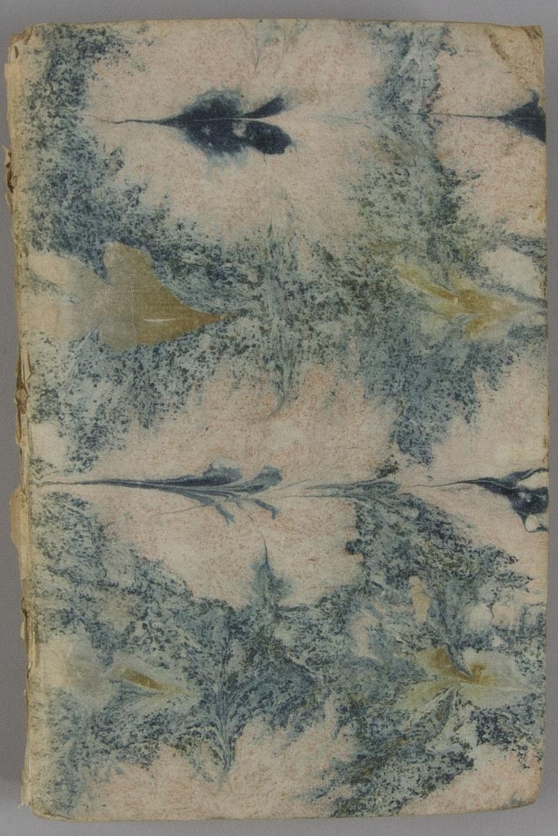 """Bok, pappband: """"Recueil historique d'actes, negocirarions, memoires et traitez."""", vol. VIII, skriven av Jean de Missy Rousset.  Pärmen klädd i marmorerat papper, i vitt, rosa och svart. Med oskurna snitt."""