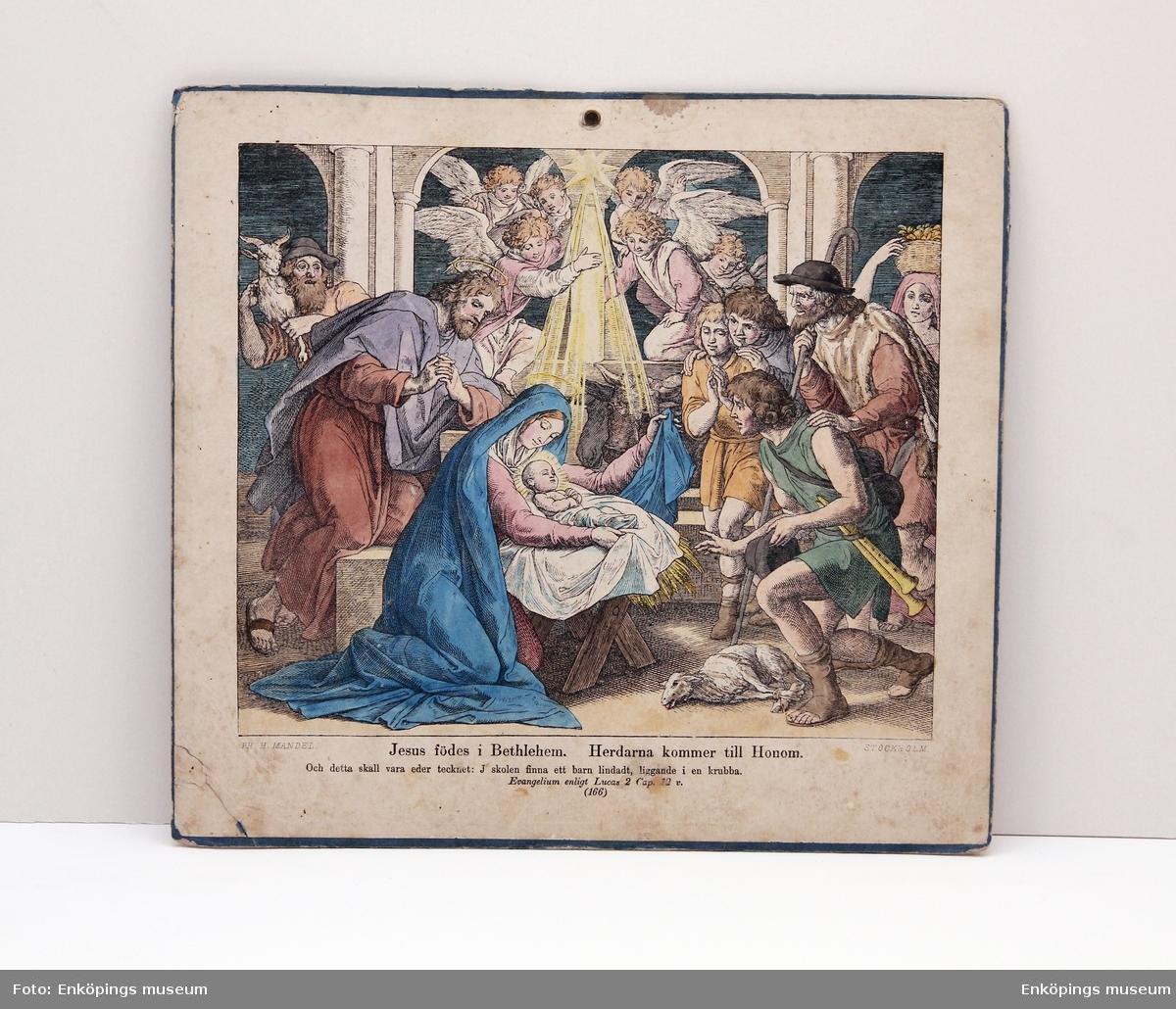 Plansch med religiöst motiv dubbelsidig. På den ena sidan Jesus födelse i Bethlehem, herdarna kommer till honom, på den andra sidan Christi födelse förkunnas för herdarna.