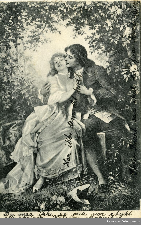 Postkort av kyssende par.