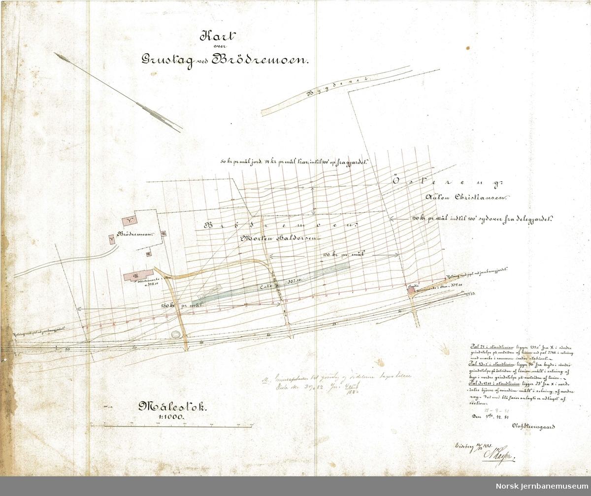 Kart over Grustag ved Brødremoen